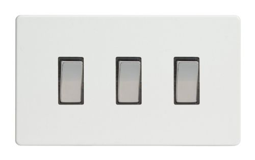 Varilight XDQ93S Screwless Premium White 3 Gang 10A 1 or 2 Way Rocker Light Switch (Twin Plate)